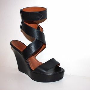 Givenchy Black Leather Wrap Ankle Strap Wedge Heel